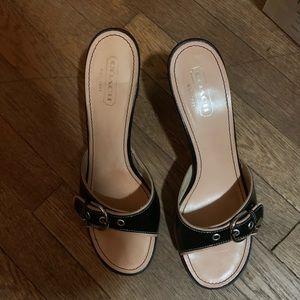 Coach 1941 'Daryn' Black Open Toe Heeled Sandals
